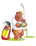 Desenhos animados do jogador de golfe do urso Foto de Stock Royalty Free