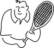 Desenhos animados do jogador de ténis Fotografia de Stock Royalty Free