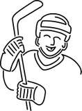 Desenhos animados do jogador do hóquei Fotos de Stock