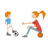 Desenhos animados do kisd do esporte Imagem de Stock Royalty Free