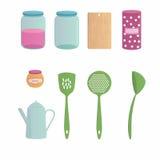 Desenhos animados do Kitchenware ajustados com nove objetos Ilustração Stock