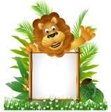 Desenhos animados do leão com placa Imagem de Stock