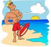 Desenhos animados do lifeguard da praia Fotos de Stock