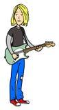 Desenhos animados do músico da rocha Fotografia de Stock