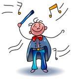 Desenhos animados do maestro de orquestra ilustração stock