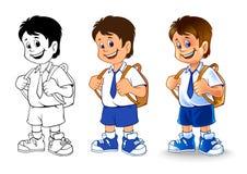 Desenhos animados do menino de escola Fotos de Stock Royalty Free