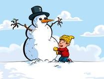 Desenhos animados do menino que constroem um boneco de neve ilustração do vetor