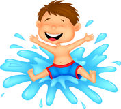 Desenhos animados do menino que saltam na água Fotografia de Stock
