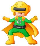 Desenhos animados do menino do super-herói Fotos de Stock Royalty Free