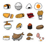 Desenhos animados do menu do restaurante japonês do alimento Fotografia de Stock Royalty Free