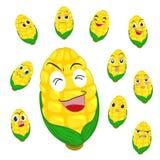 Desenhos animados do milho com muitas expressões Fotos de Stock