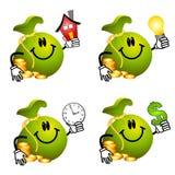 Desenhos animados do Moneybag que prendem objetos Fotografia de Stock Royalty Free