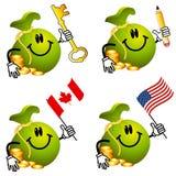 Desenhos animados do Moneybag que prendem os objetos 2 Fotografia de Stock Royalty Free