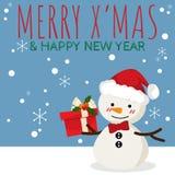 Desenhos animados do Natal do boneco de neve com texto de MAS da caixa de presente e de X ALEGRE '& do ANO NOVO FELIZ ilustração do vetor