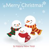 Desenhos animados do Natal da família do boneco de neve no costume do inverno ilustração royalty free