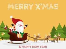Desenhos animados do Natal de Santa Claus, da rena, da caixa de presente e do pinheiro no fundo amarelo com mas de X alegre ?& te ilustração stock