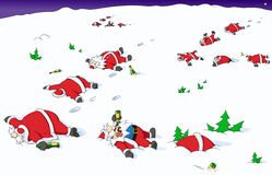 Desenhos animados do Natal do partido, indo para o sul Foto de Stock