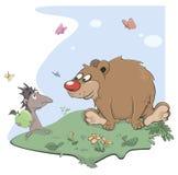 Desenhos animados do ouriço e do urso Fotos de Stock