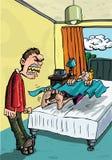 Desenhos animados do pai que shouting em adolescente preguiçoso ilustração stock