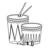 Desenhos animados do partido dos instrumentos musicais em preto e branco ilustração do vetor