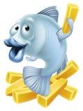 Desenhos animados do peixe com batatas fritas Imagens de Stock Royalty Free