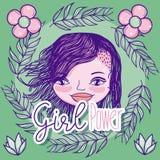 Desenhos animados do poder da menina ilustração royalty free
