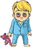 Desenhos animados do rapaz pequeno doente Imagem de Stock