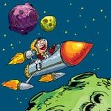 Desenhos animados do rapaz pequeno em um foguete ilustração royalty free