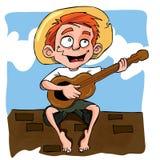 Desenhos animados do rapaz pequeno que jogam a guitarra Fotografia de Stock