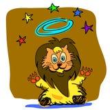 Desenhos animados do rei do leão desenhados mão Imagens de Stock
