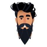 Desenhos animados do retrato de um homem farpado em um barbeiro A cabeça é b Imagem de Stock