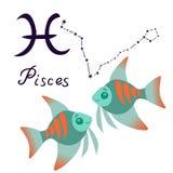 Desenhos animados do sinal do zodíaco dos Peixes isolados no vetor branco do fundo ilustração royalty free