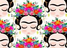 Desenhos animados do teste padrão de Frida Kahlo ilustração do vetor