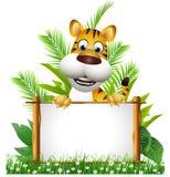 Desenhos animados do tigre com placa Fotografia de Stock