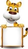 Desenhos animados do tigre com sinal em branco Foto de Stock