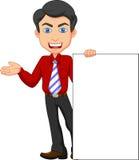 Desenhos animados do trabalhador de escritório com sinal vazio Foto de Stock