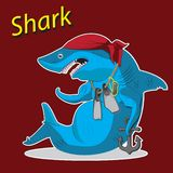 Desenhos animados do tubarão do caráter que sentam-se com uma âncora e as aletas Imagem do vetor ilustração do vetor