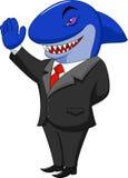 Desenhos animados do tubarão do negócio Imagens de Stock