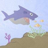 Desenhos animados do tubarão feitos do papercraft do tecido Foto de Stock