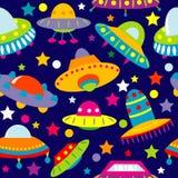 Desenhos animados do UFO sem emenda Imagens de Stock Royalty Free