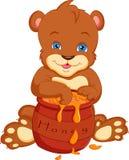 Desenhos animados do urso com mel Foto de Stock