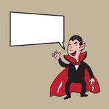 Desenhos animados do vampiro de Dia das Bruxas do balão de discurso Imagens de Stock