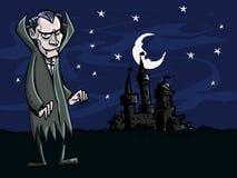 Desenhos animados do vampiro na frente de um castelo creepry ilustração do vetor