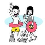 Desenhos animados do verão da praia Fotografia de Stock
