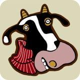 Desenhos animados do vetor da vaca do inverno Imagem de Stock