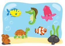 Desenhos animados do vetor da vida do oceano Foto de Stock