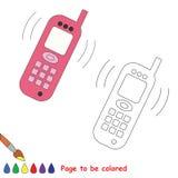 Desenhos animados do vetor do telefone a ser coloridos Fotografia de Stock