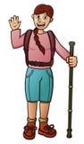 Desenhos animados do viajante da menina ilustração royalty free