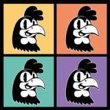 Desenhos animados do vintage quatro imagens do caráter retro de sorriso do galo em quadrados coloridos Foto de Stock Royalty Free