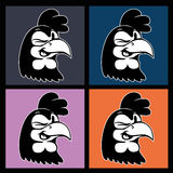 Desenhos animados do vintage quatro imagens do sorriso e de pisc o caráter retro do galo em quadrados coloridos Imagens de Stock